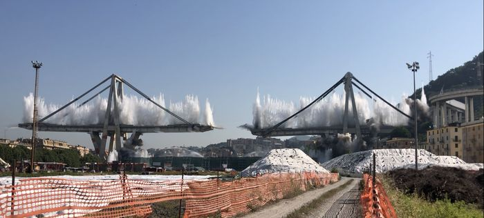 Demolition works of the piers n.10 and n.11 of the highway A10  Polcevera Viaduct (Ponte Morandi)